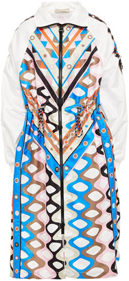 Emilio Pucci Ruched Printed Satin-shell Coat