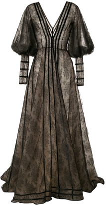 Saiid Kobeisy Plunge Style Sheer Gown