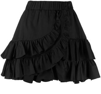 FEDERICA TOSI Cotton-Silk Blend Asymmetric-Ruffle Skirt