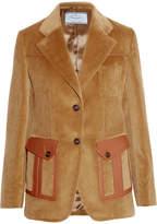 Prada Leather-trimmed Cotton-corduroy Blazer - Camel