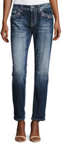 Miss Me Boyfriend Faded Embroidered Denim Jeans, Dark Wash 417