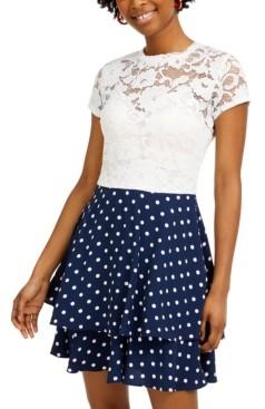 B. Darlin Juniors' Lace & Polka Dot Dress