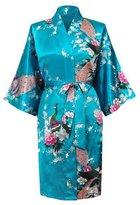 Coolmee Women Imitation Silk Kimono Long Bathrobes Loungewear Lake Blue XL