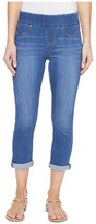 Liverpool Sienna Pull-On Rolled-Cuff Capris in Silky Soft Denim in Coronado Mid