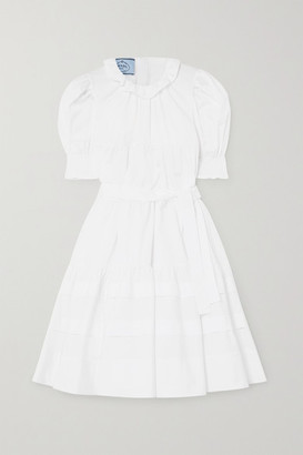 Prada Belted Ruffled Tiered Cotton-poplin Dress - White