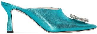 Wandler Lottie 75mm crystal embellished mules