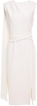 Oscar de la Renta Draped Wool-blend Crepe Midi Dress