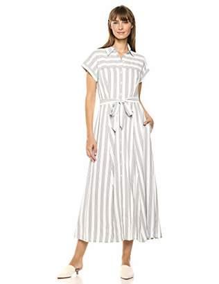 Calvin Klein Women's Short Sleeve Button Front Shirt Dress with Self Belt