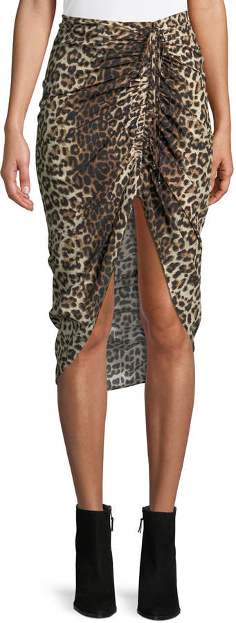 Veronica Beard Ari Ruched Leopard-Print High-Low Skirt
