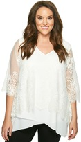 Karen Kane Plus - Plus Size Lace Overlay Asymmetric Top Women's Short Sleeve Pullover