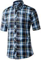 Honghu Men's Short Sleeve Button Down Cotton Plaid Casual Shirts Size X-L