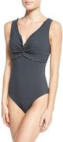 Karla Colletto Ruffle Twist Underwire One-Piece Swimsuit, Black