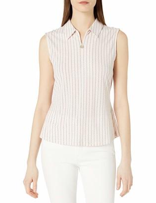 Tommy Hilfiger Women's Dash Stripe Sleeveless Collared Top