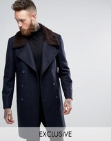 Heart & Dagger Double Breasted Overcoat with Faux Fur Collar