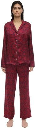 Derek Rose Brindisi Long Printed Silk Pajama Set