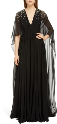 Givenchy Crystal Degrade Cape Sleeve Silk Gown