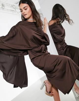 ASOS EDITION satin asymmetric midi dress in chocolate