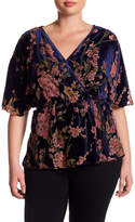 Angie Burnout Velvet Faux Wrap Blouse (Plus)