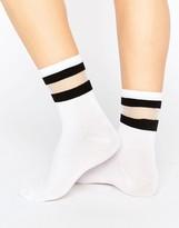 Monki Sheer Stripe Socks