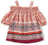 Takara Little Girls 4-6X Cold-Shoulder Border Print Top