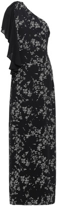 Halston One-shoulder Printed Crepe Gown