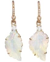 Irene Neuwirth Carved Opal Leaf Earrings - Rose Gold