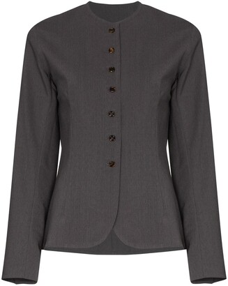 Eftychia Collarless Single-Breasted Wool Blazer