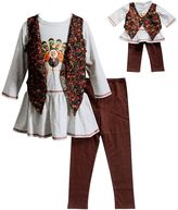 Dollie & Me Girls 4-14 Thanksgiving Tunic & Vest With Leggings Set