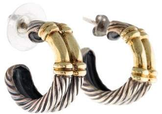 David Yurman Two-Tone Wide Metro Hoop Earrings