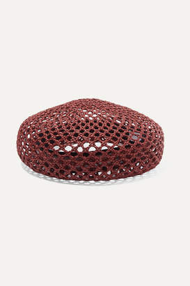 CLYDE Acorn Woven Straw Beret - Red