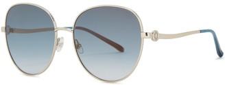 Elie Saab Silver-tone Oval-frame Sunglasses