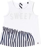 Ikks White and Navy Stripe Ruffle Top