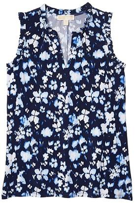 MICHAEL Michael Kors Size Mega Poppy Ikat Neck Tank (True Navy) Women's Clothing
