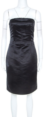 Dolce & Gabbana Black Silk Strapless Short Dress S