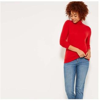 Joe Fresh Women's Cashmere Turtleneck, Dark Red Mix (Size XS)