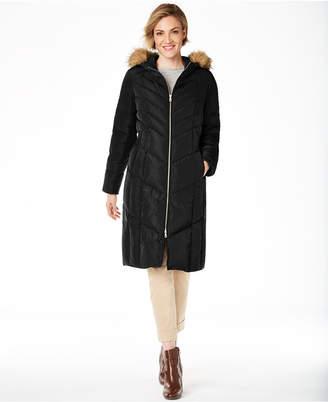 Cole Haan Chevron Quilt Hooded Down Coat