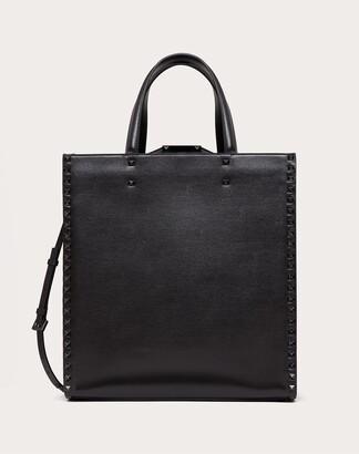 Valentino Garavani Uomo Rockstud Alcove Grainy Calfskin Tote Bag Man Black 100% Pelle Di Vitello - Bos Taurus OneSize