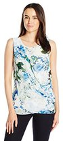 Calvin Klein Women's Sleeveless Top with Printed Chiffon