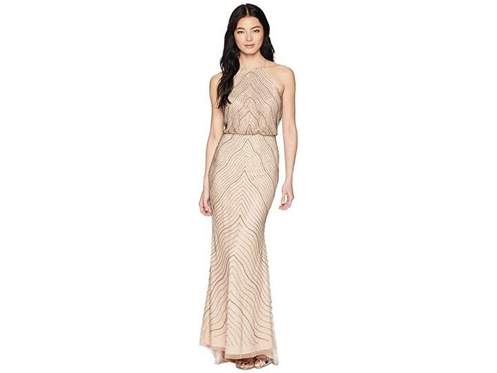 Adrianna Papell Petite New Beaded Blousson Halter Gown