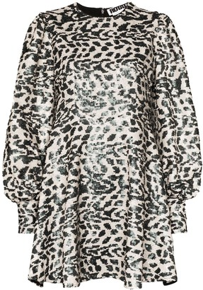 Rotate by Birger Christensen Alison sequin leopard mini dress