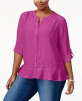 NY Collection Plus Size Lace-Yoke Blouse