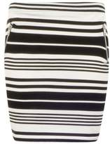 Select Fashion Fashion Womens Grey Stripe Zip Pocket Mini Skirt - size 18