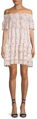 1st Sight Crochet Lace Off-The-Shoulder Shift Dress