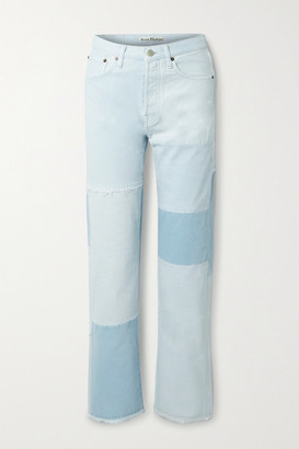 Acne Studios + Net Sustain 1996 Frayed Patchwork Organic High-rise Straight-leg Jeans - Light denim
