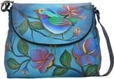 Anuschka Anna By Anna by Women's Genuine Leather Large Flap-Over Handbag | Cross-Body Organizer | Lonesome Bird Denim