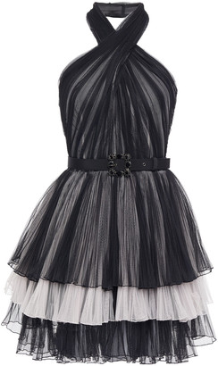 Alberta Ferretti Belted Tiered Plisse-tulle Mini Halterneck Dress
