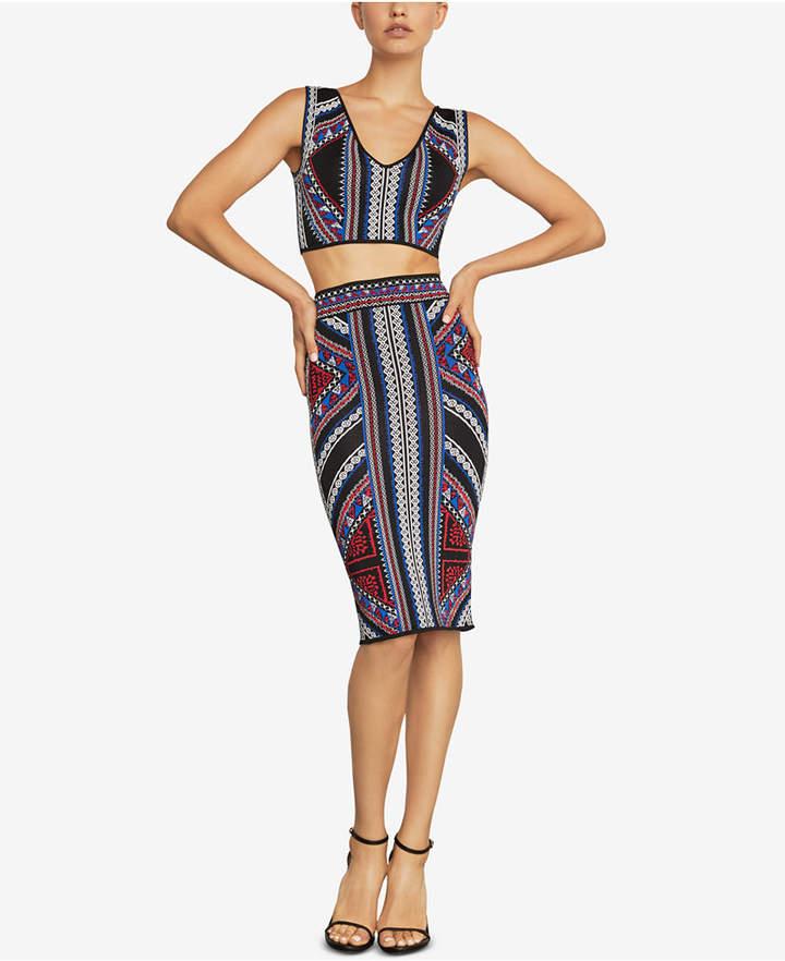 BCBGMAXAZRIA Geometric Jacquard Pencil Skirt