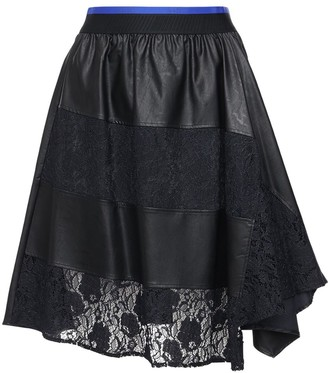 Koché Faux Leather & Lace Knee Length Skirt