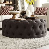 HomeVance Vanderbilt Button Tufted Round Cocktail Ottoman