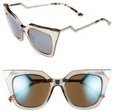 Fendi Women's 52Mm Cat Eye Sunglasses - Blue/ Grey